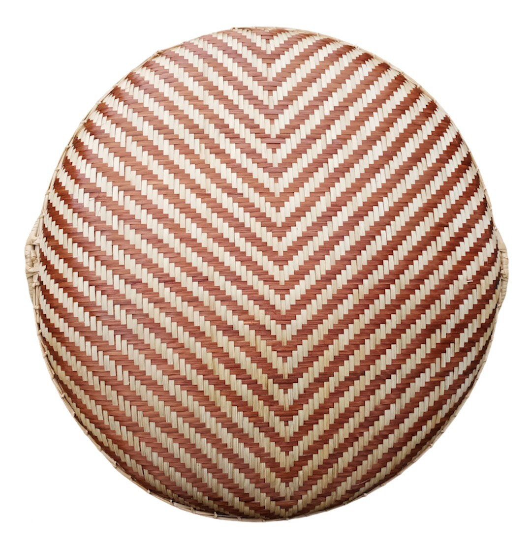 Circle basket Bam boo Strip Dark  Brown