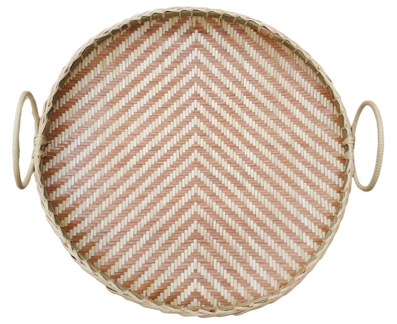 Circle basket Bam boo Strip Brown