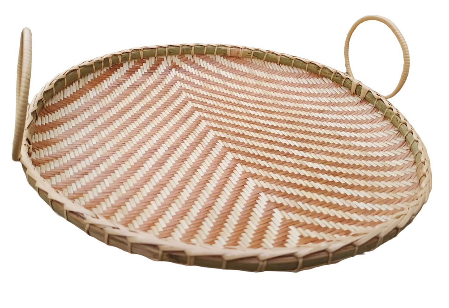 Circle basket Bam boo Strip Brown