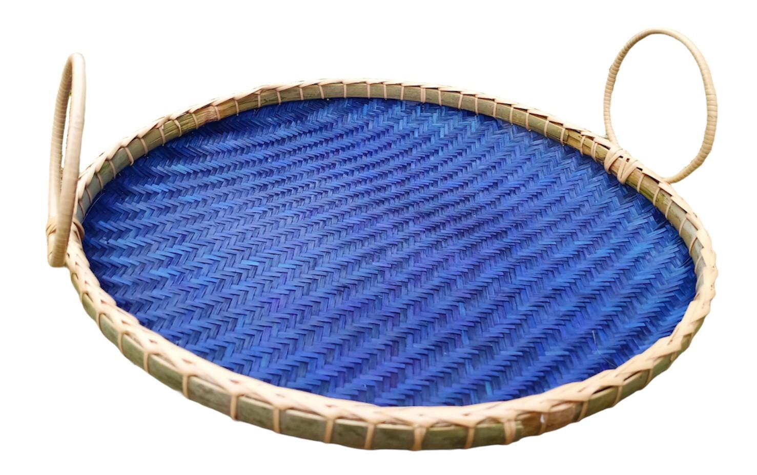 Circle basket Bam boo Blue
