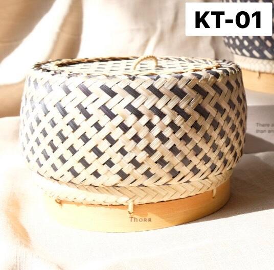 Chic Kratip เล็ก พื้นขาว ลายดำ KT-01