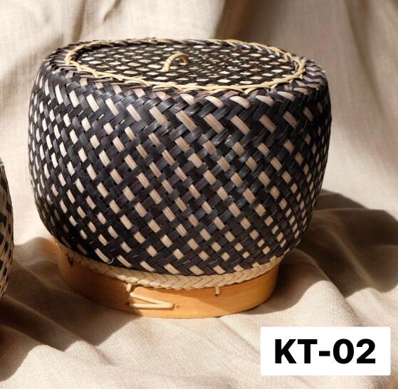 Chic Kratip ใหญ่ พื้นดำ ลายขาว KT-02